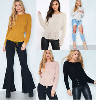 Womens Ladies Lace Up Corset Belt Long Sleeve Knitted Jumper Sweater Top UK 8-14