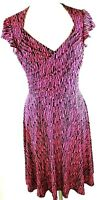 Leota Fit And Flare Cap Sleeve Stripe Brittnay Dress Womens Size Medium Pink