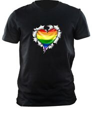 Ripped torn Metal HEART with LGBT Gay Pride Rainbow Flag mens t-shirt tshirt top