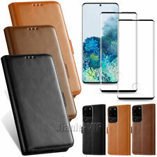 For Samsung Galaxy S20 + Plus Ultra Wallet Case Leather Stand Flip Cover + Glass