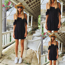 Summer Womens Boho Off Shoulder Evening Party Beach Midi Dress Short Sundress