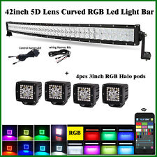 "42"" LED Curved Light Bar RGB Strobe Bluetooth CREE 5D Lens + 4X 3"" Cube Halo Pod"