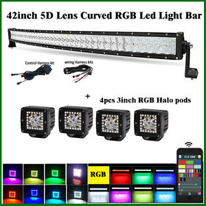 "42"" inch 5D LED Curved Light Bar RGB Bluetooth Control + 4X Cube Halo 3x3"" Pods"