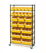 Storage Rack Bins Mobile On Wheels School Garage Restaurant Office Leveling Feet