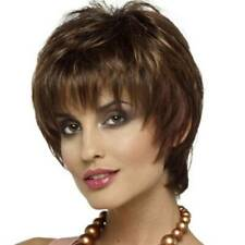 Womens Short Curly Wigs Pixie Cut Hair Brown Ladies Cosplay Ombre Full Wigs
