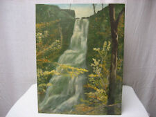Vintage Hand Painted Original Waterfall Mountain & Trees Painting 14 X 18 Inches