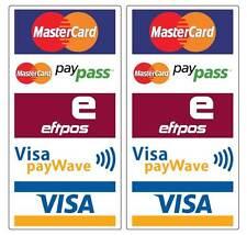 Paywave Paypass Mastercard Visa Eftpos Stickers 2 pack water & fade proof 200mm