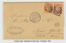 France cover 1874 from Marseille to New York (USA) - R. Winter coll. - Steamer
