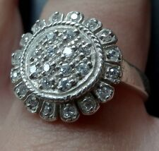 vintage STERLING SILVER cubic zirconia sun flower dress ring 8 3/4  -C560
