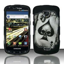For Samsung Droid Charge Rubberized Hard Case Snap on Phone Cover Spade Skull