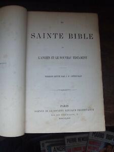 LA SAINTE BIBLE ANCIEN NOUVEAU TESTAMENT REVUE PAR OSTERVALD-LIVRE ANCIEN 1869