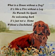 DACHSHUND LONG HAIRED RED DOG HARDBOARD PLAQUE TILE WATERCOLOUR ARTIST PRINT