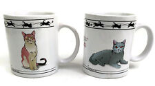 2 Cat Lovers Limited Collectible Mugs 8 oz Chartreux Abyssinian Turkish Van