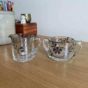 Vintage Open Sugar & Creamer Set Glass with Floral Silver Overlay Nouveau Style
