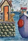 ACEO Contemporary Original Watercolour Painting~Harbour~Dog~Mouse~Boat~House