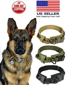 Tactical Military K9 Dog Training Collar with Metal Buckle for L Dog Heavy Duty