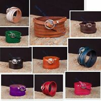 Plain Cool Chic Multi 5 Wraps Genuine Leather Bracelet Cuff Bangle Men Women