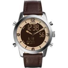 FOSSIL MEN'S PILOT 44MM BROWN LEATHER BAND STEEL CASE QUARTZ WATCH FS5173