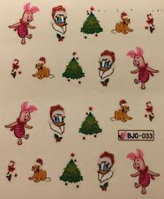 Nail Art Water Decals Stickers Christmas Piglet Donald Duck Tree Candy Cane BJ33