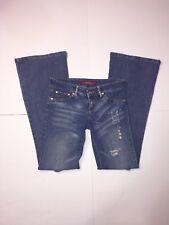 Studio F Medium Wash Denim Flare Jeans Womens Size 6 - Inseam 28 - Distressed