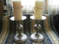 Vintage Large set of 2 solid heavy Brass Candle Holders India- Weddings Other!