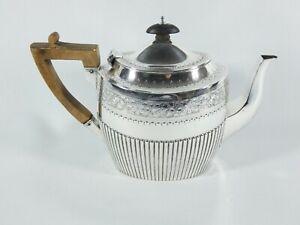 Antique Victorian 1892 Sterling Silver Teapot Tea Pot Fluted Bright Cut Dixon