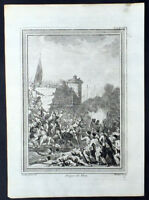 1755 Prevost & Schley Antique Print Siege of Diu Gujarat India, Portuguese Turks