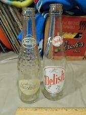 Vtg Glass Soda Pop Bottles [LOT of 2] Nesbitt's + Delish(Coca-Cola Co.) Ltd USA