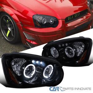 For Subaru 04-05 Impreza WRX Tinted LED Halo Piano Black Projector Headlights