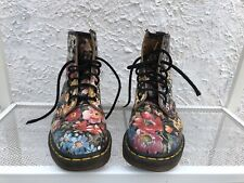 Rare Vintage Dr. Martens Black Floral Boots Womens US Sz 7 UK 5 Made In England