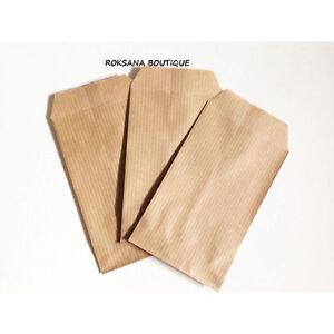 50 Pochettes kraft cadeaux sac sachets papier bijoux emballage brun 7x 13 cm