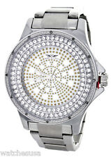King Master Men's CZ Stone Stainless Steel Silver Leather Watch