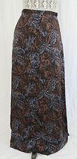 ISDA & CO High Waist Floor Length Long Silk Skirt Floral Grey Blue Brown Leaf XS