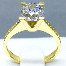 """9CT YELLOW GOLD CUBIC ZIRCON *SOLITAIRE* ENGAGEMENT RING SIZE """"O½"""" 1833"""