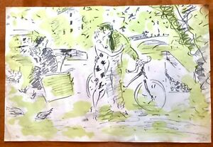 Original Signed & # print large 1920's/30 Kissing Couple in Park unknown artist