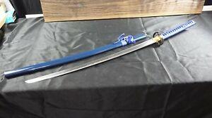 """New 42"""" Blue Handmade Japanese Sword Katana Battle Ready Warrior Tsuba"""