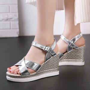 Women Wedge High Heel Cross Strap Platform Sandals Casual Summer Roma Shoes Size