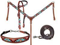 Showman 4 Piece Beaded Aztec Headstall & Breast Collar Set! NEW HORSE TACK!