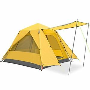 Family Camping Tent Large Waterproof Pop Up Tents 3/4 Person Room 3P Yellow