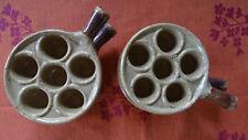4 assiettes/poêlons à escargots - 6 trous - en grès émaillé pour cuisson au four