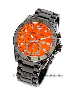 Softech Gents Orange Dial Watch, Gunmetal Grey Case & Bracelet