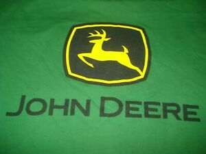 JOHN DEERE SIZE MEDIUM GREEN WITH LOGO T SHIRT FREE POSTAGE