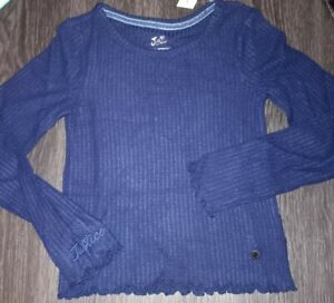 Girls justice long sleeve waffle knit size 8 new navy