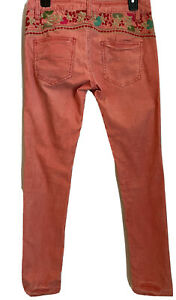 Free People Floral Embroidered Coral Corduroy Skinny Pants 26 (28x29) Stretchy