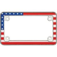Cruiser Accessories MC License Plate Frame USA Flag Chrome 77203