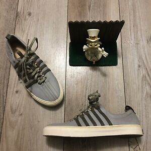 K Swiss Billy Reid Shoes Mens 9 / 42 Gray Leather with Green Stripes Sneakers
