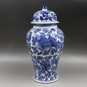 Chinoiserie vase  Blue and White Chinese Porcelain Ginger Jar / vase