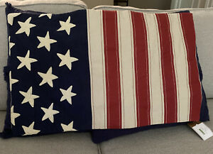 Pottery Barn Pillow Cover - American Flag Design 16 x 26 Lumbar Nwt