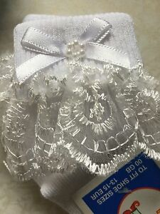 Tiny Baby Premature Newborn Size 0-0 Lovely Frilly Lace Pearl Ribbon Girls Socks