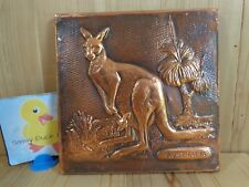 "AUSTRALIA KANGAROO Joey Wall Plaque 7.5"" Square Hammered Copper Szonyeg"